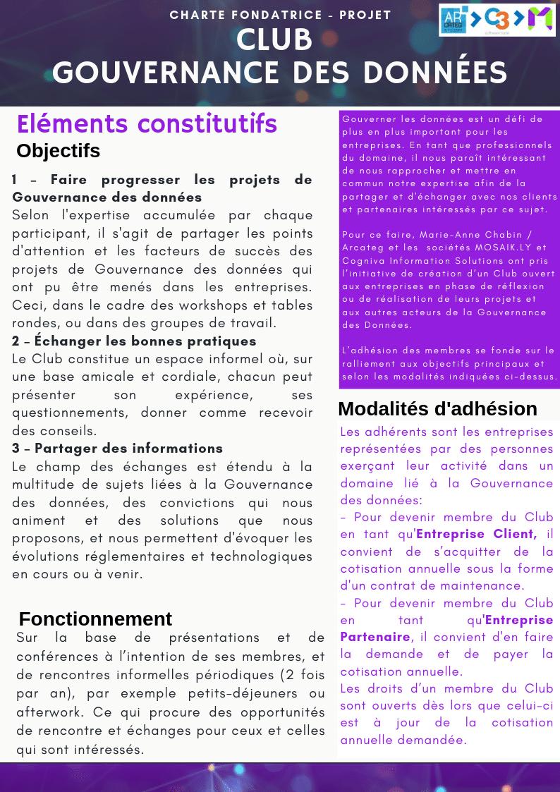 Charte du Club Gouvernance des Données